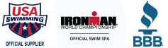 IRONMAN Logo, USA Swimming Logo, and the BBB Logo