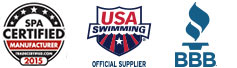 Spa Certified Logo, USA Swimming Logo, and the BBB Logo