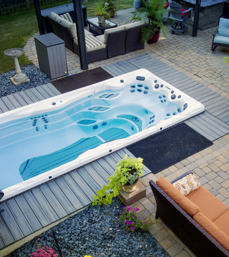 Backyard Getaway with a michael phelps signature swim spa